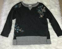 Tres Jolie Gray Floral Embellished Sweatshirt Top Small Embroidered Oversized