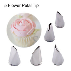 Tips Cream Rose Petal Icing Piping Nozzle Cake Decorating Tool Stainless Steel