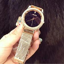 Luxury Stylish Women's Rose Gold Stainless Diamond Black Glitter Quartz Watches