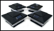 "8 Black 5-LED 4"" X 4"" Solar Post Deck Cap Fence Light W Lithium-Ion Battery"