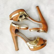 NINE WEST Cognac Gold Open Toe Ankle Strap Shoes Sz 10