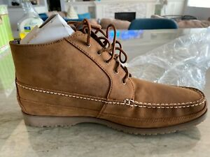 NEW In Box Lands End Chukka Boot Shoe Brown Leather Size 12 Style #393357
