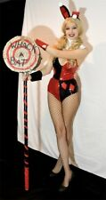 Harley Quinn Playboy Bunny sexy cosplay costume size sz L red and black sequins