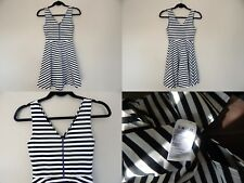 Urban outfitters Zip-Front Skater Dress XS Black white stripes fit & flare