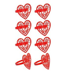 8 Pcs Valentine's Day Napkin s,Red Heart Napkin Holder s for Holiday Party  C7F6