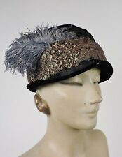 ANTIQUE 1920'S PIPED SILK CLOCHE HAT W FEATHER TRIMS
