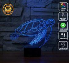 TURTLE OCEAN AQUARIUM 3D Acrylic LED 7 Colour Night Light Touch Lamp GIFT