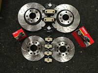 AUDI A4 B7 2.0TDI SLINE BRAKE DISC DRILLED GROOVED FRONT REAR 255MM 312MM & PADS