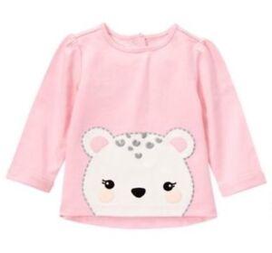 NWT Gymboree CUDDLE CLUB Pink Long Sleeve Snow Leopard Top Shirt Girls 3-6 M