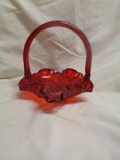 Beautiful Ruby Red Glass Fenton Basket or Candy Dish