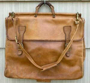 Vintage HARTMANN LUGGAGE Belting Leather GARMENT BAG Distressed TAN Suit Duffel