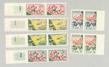 Gabon #154-159 Flowers 6v Imperf Pairs