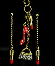 """18K Yellow Gold and Enamel """"Lady's Essentials"""" Fun Necklace and Earring Set"""