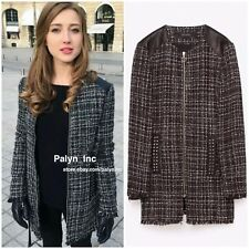 Rare XS_NWT ZARA AW16 PATTERNED JACKET WITH FAUX LEATHER DETAIL 7965/725