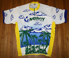"""Good Stuff """"Mercy Health Plans"""" Cycling Jersey XXL White Blue Yellow Made in USA"""