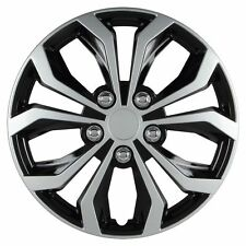 15 inch Hubcaps Spyder Performance Black & Silver Wheel Covers Set 553 4pcs