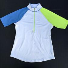 Jofit Ladies 1/2 Zip Golf Tennis Shirt Size M Short Sleeve White/Blue/Green Top