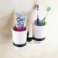 Bathroom Toothbrush Tumbler Holder Ceramic Cup Set Wall Mount Oil Rubbed Bronze