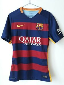 BARCELONA FC 2015/2016 HOME FOOTBALL SHIRT PLAYER ISSUE SPAIN
