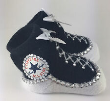 Customised Baby Unisex Black Converse Booties Pram socks Romany Bling Crystal