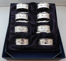 Boxed Set 8 Hallmarked Solid Silver Napkin Rings Serviette Ring
