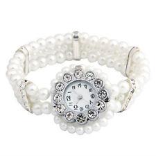 BT White Faux Pearl Beads Crystal Rhinestone Bracelet Wrist Watch