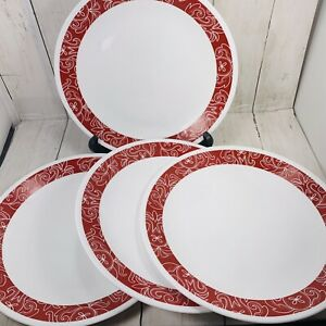 4 Corelle Bandhani Dinner Plates Red Band On White Retro Bandana Design Country