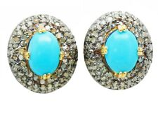 & Fine Natural Turquoise Earring Incredibly Handcrafted Rose Cut Diamond