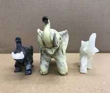 Set of 3 Hand Crafted Elephant Statues-Stone, Onyx and Clay