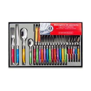 La Redoute LAGUIOLE 24 Piece Cutlery Set Stainless Steel Multi-coloured RRP £36