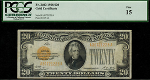 1928 $20 Gold Certificate FR-2402 - Graded PCGS 15 - Fine