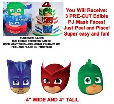 PJ Masks Edible Cake Stickers PJ Masks Edible Head Cut Outs Edible Cake Image