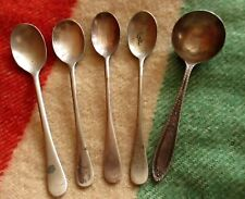 """Lot 5 Antique silver coin plate 5"""" small spoons VERNON ROGERS PIX"""