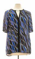 Womens Michael Kors blue & black short sleeve blouse size M