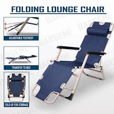 Reclining Sun Beach Deck Lounge Chair Outdoor Folding Camping Fishing Arm Rest N