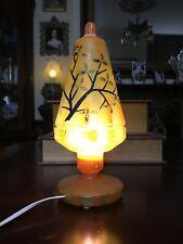 Kralik Art Glass Boudoir Or Fairy Lamp Bohemian Czecho-Slovakia Signed