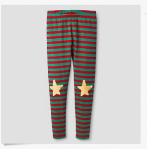 Cat & Jack Holiday Elf Red & Green Striped Star Leggings Size Girls L 10/12