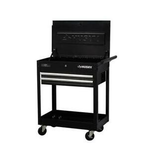 Husky Tool Utility Cart 2 Drawer Top Storage Side Handle Casters Black 28 in.