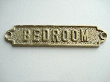 """ORIGINAL HEAVY DUTY COMMERCIAL/CRUISE SHIP SOLID BRASS PLATE  """"BEDROOM"""""""