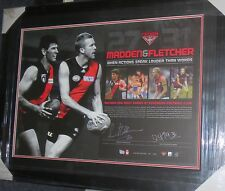 DUSTIN FLETCHER & SIMON MADDEN SIGNED ESSENDON L/ED LITHOGRAPH FRAMED  + C.O.A