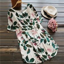UK Plus Size Womens Summer Floral Long Tops Ladies Party Short Sleeve Midi Dress