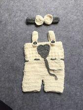 Newborn Suspender Romper & Headband 2 Piece Knit Crochet Set Photo Prop