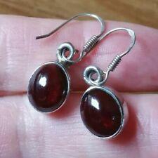 Drop Dangle Earrings Pretty Sterling Silver Garnet