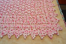 "PRETTY PINK AND WHITE CROCHETED BABY BLANKET 37""x43"" WITH A PICOT BORDER"