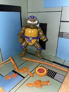1990 Storage Shell Donatello Ninja Turtles TMNT Vintage Figure with Accessories