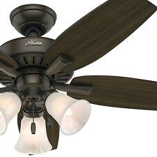 "46"" Hunter Ceiling Fan, New Bronze - Three-light Fitter w/ Swirled Marble Glass"