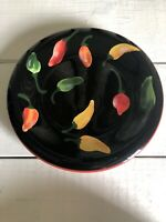 Certified International Salad Plate Pepper Tex Mex Black Southwestern Caliente