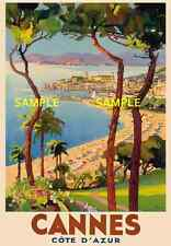 """Cannes -  - French Riviera - Travel Poster  - 8.5"""" X 11"""""""