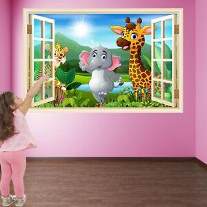 Cartoon Animals Jungle Wall Art Stickers Mural Decal Print Kids Room Decor HE1