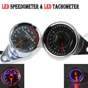 12V Universal Motorcycle 13000 RPM LED Tachometer + Speedometer Odometer Gauge